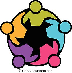 Teamwork union people vector icon concept of community, workers, unity, social networking web image logo template
