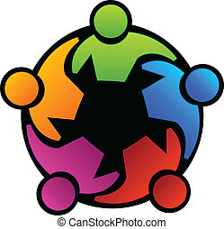Teamwork union people vector icon