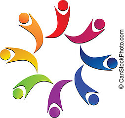 Teamwork union people logo