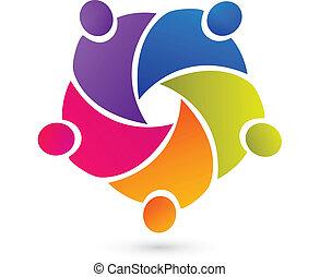 Teamwork union people logo vector
