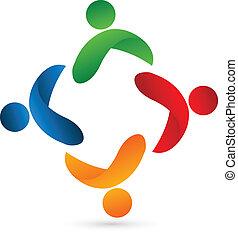 Teamwork united people logo