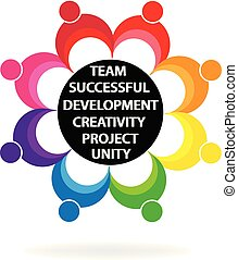 Teamwork unity people holding hands logo