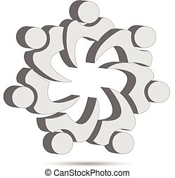 Teamwork unity people logo design template icon vector