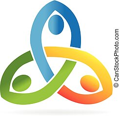 Teamwork unity people logo