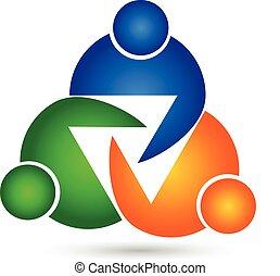 Teamwork unity three people logo