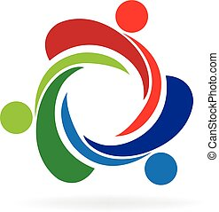 Teamwork unity trial people logo