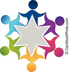 Teamwork unity workers people logo design vector