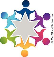 Teamwork unity workers people logo design vector