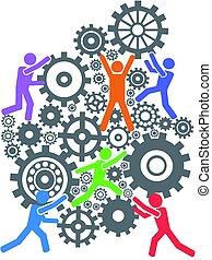 teamwork, utrustar, fond folk