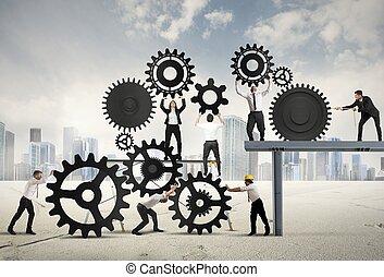 teamwork, van, businesspeople