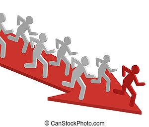 Teamwork, team people vector. Running man, winner, business...