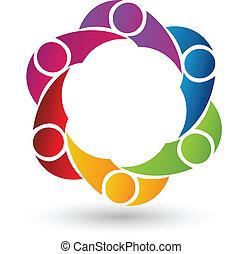 teamwork, vector, ontwerp, logo