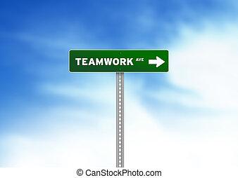 teamwork, vej underskriv