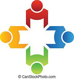 teamwork, vektor, gruppe, 4