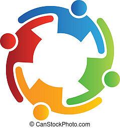teamwork, vektor, omfavnelse, 4