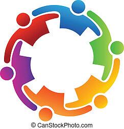 teamwork, vektor, omfavnelse, 6