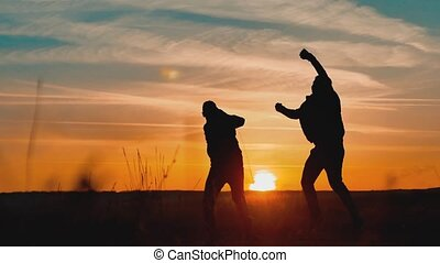 teamwork victory business tourism concept. two hiker...