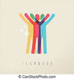 Teamwork victory concept business color design