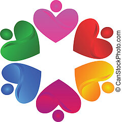 Teamwork voluntary hearts logo