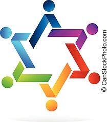 teamwork, vorm, ster, kleurrijke, logo