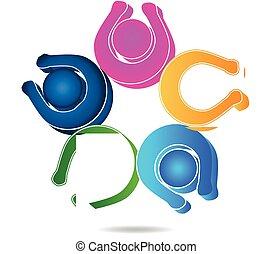teamwork, vrolijke , mensen, logo, ontwerp, mal, pictogram, vector