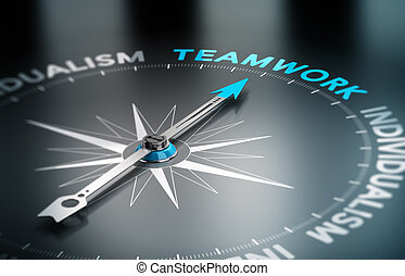Teamwork vs Indidualism - Conceptual 3D render image with...