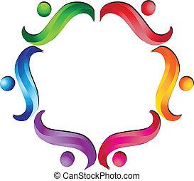 teamwork, wektor, grupa, logo