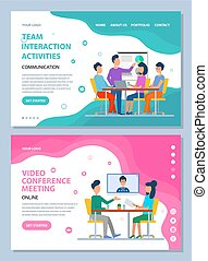 teamwork, wektor, sieć, konferencja, interakcja