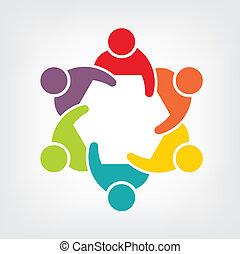 teamwork, wektor, spotkanie, 6