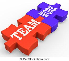 teamwork, widać, współposiadanie, pracujący razem