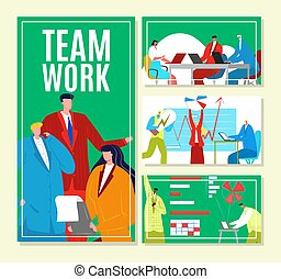 Teamwork with business man woman people, vector illustration. Finance management, creating flat idea banner set. Brainstorming background