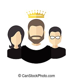 Teamwork With Leader Concept - Person with the crown and...