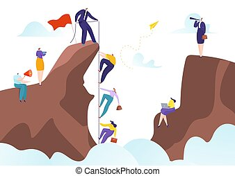 Teamwork with success leader help to goal achievement, leadership and team career together vector illustration. Cooperation challenge