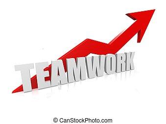 Teamwork with upward red arrow