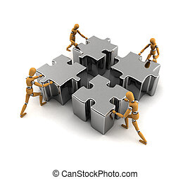 Teamwork - Wooden mannequins pushing puzzle pieces into the ...