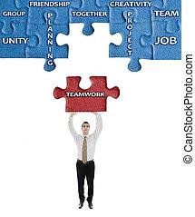 teamwork, woord, op, raadsel, in, man, handen