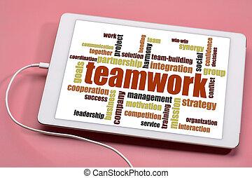 teamwork, woord, wolk, op, tablet