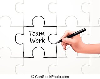 teamwork word and puzzle drawn by human hand