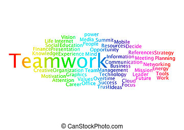 TEAMWORK word cloud collage. Business and motivation concept
