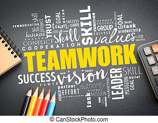 Teamwork word cloud collage, business concept