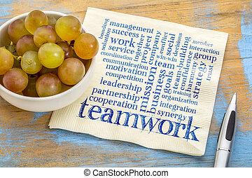 teamwork word cloud on napkin