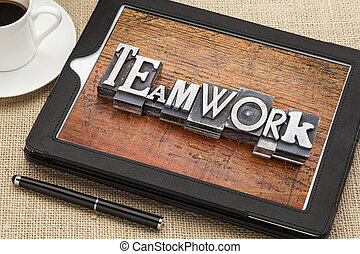teamwork  word in metal type