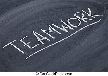 teamwork word on blackboard