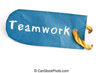 Teamwork word on label