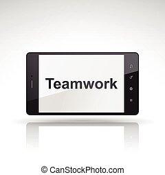 teamwork word on mobile phone