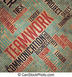 teamwork, wordcloud, -, concept., tło