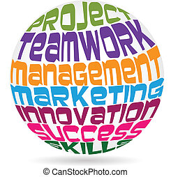 Teamwork words meaning colorful vector icon