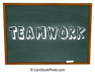 Teamwork Written on Chalkboard - The word Teamwork is...