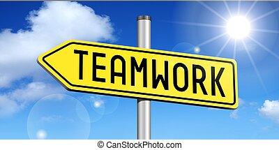 Teamwork - yellow road sign