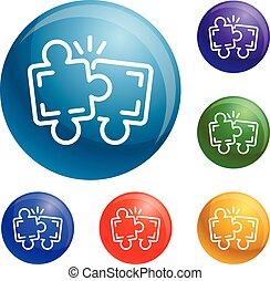 teamwork, zagadka, wektor, komplet, ikony